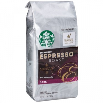Starbucks Espresso Roast Dark Ground Coffee, ca. 340g (12oz)