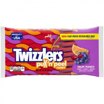 TWIZZLERS PULL 'N' PEEL Fruit Punch Candy ca. 340g (12oz)