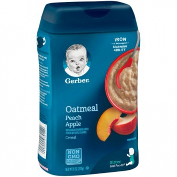 Gerber Oatmeal and Peach Apple Baby Cereal ca. 226g (8oz)