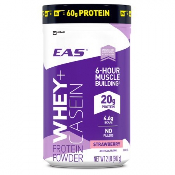 EAS 100% Whey + Casein Protein Powder, For Muscle Building and Recovery, Strawberry ca. 907g (32oz)