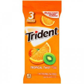 Trident Tropical Twist Sugar Free Gum ca. 100g (3.5oz)