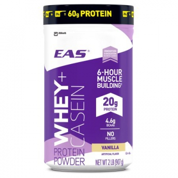 EAS 100% Whey + Casein Protein Powder, For Muscle Building and Recovery, Vanilla ca. 907g (32oz)