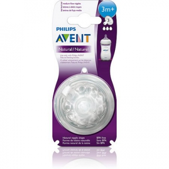 Philips Avent Natural Medium Flow Nipple for Avent Natural Bottles, 3 Months+, 2-ct, BPA-Free